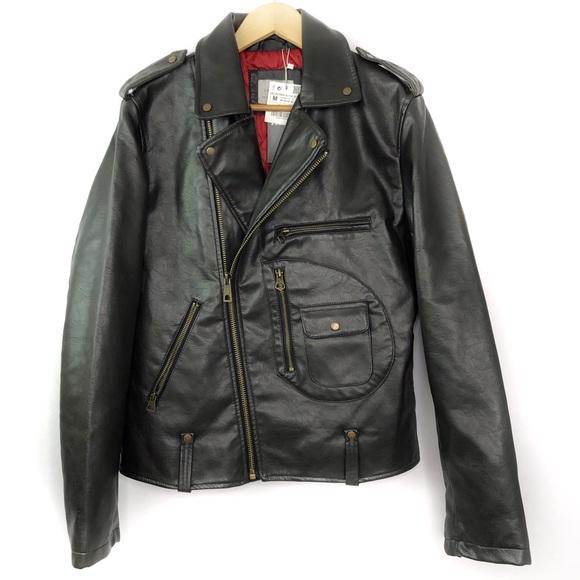 Zara Jackets Coats Man Faux Leather Motorcycle Jacket Brown Zip